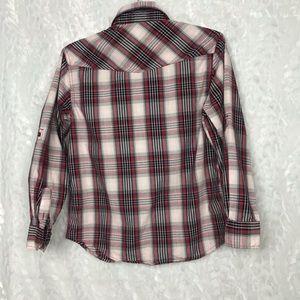 Point Zero Tops - Point Zero red black plaid shirt 2 front pockets M